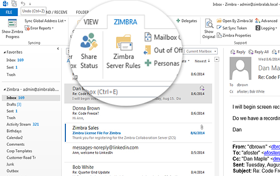 Zimbra Connector for Outlook allow users to keep using Microsoft Outlook